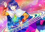 1girl blue_eyes blue_hair dress highres looking_at_viewer multicolored_hairband open_mouth pointing pointing_down pointing_up rainbow rainbow_background rainbow_gradient red_button short_hair sky_print smile solo tenkyuu_chimata touhou uranaishi_(miraura) yellow_button zipper
