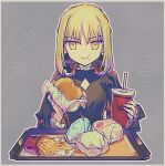 1girl artoria_pendragon_(all) black_dress blonde_hair braid burger cup dress drinking_straw eating fate/hollow_ataraxia fate_(series) food food_in_mouth food_on_face french_braid french_fries outline saber_alter shionty sidelocks solo tray upper_body yellow_eyes