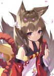 1girl amagi-chan_(azur_lane) animal_ears azur_lane bangs blunt_bangs brown_hair collarbone commentary_request eyebrows_visible_through_hair fox_ears fox_girl fox_tail from_above hair_ribbon highres index_finger_raised kyuubi long_hair looking_at_viewer looking_up manjuu_(azur_lane) multiple_tails off-shoulder_kimono off_shoulder petals ribbon rope sakutaishi shimenawa sidelocks signature simple_background smile solo tail thick_eyebrows twintails violet_eyes wide_sleeves