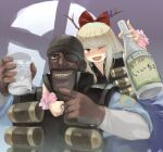 1boy 1girl :d alternate_hair_color ammunition bangs black_headwear blonde_hair bottle bow cup dark_skin dark_skinned_male eyepatch facial_hair fangs hair_bow half-closed_eyes holding holding_bottle holding_cup horn_ornament horn_ribbon horns ibuki_suika long_hair long_sleeves looking_at_viewer omaesan_(camp-192) one_eye_closed open_mouth orange_eyes purple_ribbon red_bow ribbon smile team_fortress_2 the_demoman touhou translation_request upper_body wrist_cuffs