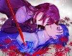 1boy 1girl armor blue_flower blue_rose bodysuit cu_chulainn_(fate)_(all) cu_chulainn_(fate/stay_night) fate/grand_order fate/stay_night fate_(series) flower gae_bolg_(fate) girl_on_top hair_down leotard long_hair namahamu_(hmhm_81) pauldrons polearm purple_hair purple_leotard red_eyes rose scathach_(fate) scathach_(fate)_(all) shoulder_armor spear spider_lily very_long_hair weapon