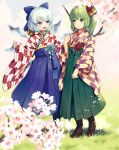 2girls blue_eyes blue_hair blue_hakama boots bow brown_footwear cirno daiyousei fairy_wings flower grass green_eyes green_hair green_hakama hair_bow hair_flower hair_ornament hakama ice ice_wings japanese_clothes multiple_girls open_mouth short_hair side_ponytail smile tomobe_kinuko touhou wide_sleeves wings