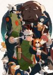 2boys akino_(naruto) animal animal_on_shoulder bandages bisuke_(naruto) bull_(naruto) character_name clothed_animal collar commentary_request copyright_request dog facing_away father_and_son floating_hair forehead_protector green_vest grey_eyes guruko_(naruto) hand_in_pocket hatake_kakashi hatake_sakumo henohenomoheji highres konohagakure_symbol long_hair male_focus mirin_(coene65) mismatched_sleeves multiple_boys naruto_(series) on_shoulder oversized_animal pakkun_(naruto) ponytail pouch sheath sheathed shiba_(naruto) short_hair sitting smile spiked_collar spikes standing sunglasses thigh_pouch urushi_(naruto) uuhei_(naruto) vest white_hair