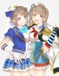 2girls blue_eyes bow breast_press breasts brown_eyes commentary_request cowboy_shot elbow_gloves epaulettes gazelle-barn gloves grey_background grey_hair grin hat hat_removed headwear_removed long_hair looking_at_viewer love_live! love_live!_school_idol_festival love_live!_sunshine!! medium_breasts military military_uniform minami_kotori multiple_girls one_side_up sailor_hat short_hair simple_background smile standing striped symmetrical_docking uniform watanabe_you