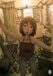 1girl 2014 bathroom bathtub brown_camisole brown_hair camisole denim feet_out_of_frame happy_new_year highres inukoko jeans looking_at_viewer mirror new_year open_mouth original pants shadow short_hair shower_curtain sink solo tile_floor tiles