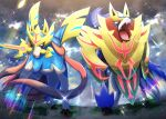 absurdres artist_name claws commentary_request from_below gen_8_pokemon highres legendary_pokemon looking_to_the_side mouth_hold open_mouth outdoors pokemer pokemon sharp_teeth sparkle standing sword teeth tongue watermark weapon yellow_eyes zacian zacian_(crowned) zamazenta zamazenta_(crowned)