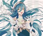 1girl absurdres azura_(fire_emblem) bare_shoulders blue_hair eyebrows_visible_through_hair fingerless_gloves fire_emblem fire_emblem_fates fire_emblem_heroes gloves hair_between_eyes highres kazuha_(kazuha1003) long_hair open_mouth outstretched_arm smile snowflakes solo veil very_long_hair white_gloves yellow_eyes