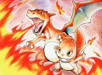 breathing_fire brown_eyes charizard charmander claws colored_pencil_(medium) commentary_request fangs fire gen_1_pokemon leaning_forward legs_apart no_humans open_mouth pokemon pokemon_(creature) ray_0_zero standing tongue traditional_media