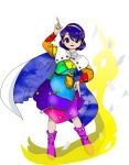 1girl belt blue_eyes blue_hair buttons cape clouds hairband magic multicolored multicolored_clothes official_art pointing purple_footwear red_button sack short_hair sky_print solo spell_card tagme tenkyuu_chimata touhou transparent_background unconnected_marketeers white_cape zipper zun_(artist)