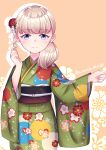 1girl absurdres bangs blonde_hair blue_eyes blunt_bangs cowboy_shot floral_background floral_print flower green_kimono hair_flower hair_ornament hair_over_shoulder highres japanese_clothes kantai_collection kimono long_hair looking_at_viewer official_alternate_costume orange_background shin'you_(kancolle) smile solo suzuki_suika twitter_username