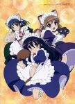 2000s_(style) 3girls :d absurdres alternate_costume animal_ears black_hair blue_hair blush brown_hair cat_ears cat_paws dot_mouth embarrassed enmaided expressionless green_eyes highres konoe_fumina maid maid_headdress megami_magazine multiple_girls official_art open_mouth orange_background paws scan shakugan_no_shana shana smile yoshida_kazumi