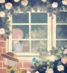2girls bangs black_headwear blouse blue_flower blue_rose blush book brick brick_wall building bush closed_eyes closed_mouth collared_blouse covered_eyes eyeball facing_viewer flower frilled_shirt_collar frills from_outside from_side grey_hair hair_over_eyes hairband hat hat_ribbon heart heart_of_string house komeiji_koishi komeiji_satori leaf long_sleeves multiple_girls no_lineart open_book outdoors pink_flower pink_hair pink_rose plant profile reading ribbon rose rose_bush short_hair siblings sisters smile string swept_bangs third_eye touhou upper_body wavy_hair window yellow_blouse yellow_hairband yellow_ribbon yujup