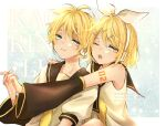 1boy 1girl bass_clef blonde_hair blue_eyes bow brother_and_sister detached_sleeves hair_bow headset highres kagamine_len kagamine_rin leg_warmers necktie repost_notice sailor_collar shorts siblings sushi_chisa treble_clef twins vocaloid