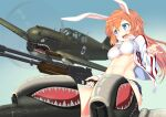 1girl 1other a9b_(louis814) absurdres afterimage aircraft airplane animal_ears bandeau bangs blue_eyes blue_shorts blue_sky charlotte_e._yeager clear_sky commentary cutoffs denim denim_shorts double_vertical_stripe flying gun highres holding holding_gun holding_weapon jacket long_hair long_sleeves looking_at_another machine_gun medium_hair military military_vehicle open_clothes open_jacket open_mouth orange_hair p-51_mustang rabbit_ears roundel shark_print shorts sky smile strike_witches striker_unit submachine_gun thompson_submachine_gun trigger_discipline weapon white_jacket world_witches_series