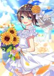 1girl :d ahoge alternate_costume beach blue_eyes blue_sky blurry blurry_background blush bouquet breasts bridal_veil brown_hair clouds cloudy_sky commentary cowboy_shot day dress earrings eyebrows_visible_through_hair eyes_visible_through_hair floating_hair flower hair_flower hair_ornament hair_ribbon holding holding_bouquet hololive jewelry light_rays looking_at_viewer medium_hair natsuiro_matsuri nitumaruta ocean open_mouth orange_flower outdoors petals ribbon ring rose sky sleeveless sleeveless_dress small_breasts smile solo sunflower sunlight tiara veil virtual_youtuber wedding_band wedding_dress white_dress white_flower white_ribbon white_rose wind wind_lift wrist_ribbon