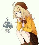 1girl ? ahoge akamatsu_kaede animal bangs black_hair blonde_hair blush bow brown_eyes brown_headwear brown_skirt cardigan cherry_hair_ornament chibi danganronpa_(series) danganronpa_v3:_killing_harmony dress_shirt feet_out_of_frame food_themed_hair_ornament grin hair_ornament hat holding holding_animal jing-geul long_hair long_sleeves looking_at_viewer looking_down orange_cardigan pale_skin plaid plaid_skirt red_bow saihara_shuuichi shirt shoes short_hair simple_background sitting skirt smile snail squatting symbol_commentary teeth violet_eyes white_background white_shirt