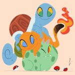 abstract bulbasaur charmander climbing fang fangs fangs_out fire gen_1_pokemon highres looking_at_another lorenzocolangeli lying one_eye_closed poke_ball pokemon pokemon_(creature) shell signature simple_background squirtle tail