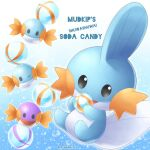 artist_name black_eyes candy candy_wrapper character_name commentary_request creature food gen_3_pokemon highres holding mudkip no_humans open_mouth pokemon pokemon_(creature) sasabunecafe starter_pokemon