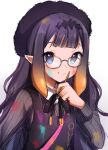 1girl bag bangs beret blue_eyes blunt_bangs blush dress flat_chest glasses gradient gradient_background hat headpiece highres hololive hololive_english long_hair long_sleeves looking_at_viewer maru_ccy mole mole_under_eye multicolored_hair ninomae_ina'nis orange_hair paint_on_clothes paint_splatter pointy_ears purple_hair smile tentacle_hair wavy_hair