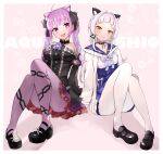 2girls :d absurdres animal_ear_fluff animal_ears bangs black_dress black_footwear black_sleeves blue_choker blue_hair blue_skirt blunt_bangs blush braid brooch cat_ears center_frills chain_print character_name choker closed_mouth cosplay costume_switch criss-cross_halter detached_sleeves dress french_braid frilled_choker frilled_dress frilled_shirt_collar frills full_body gothic_lolita hair_intakes half_updo halter_dress halterneck high-waist_skirt highres hitsujisnow holding_hands hololive jacket jewelry juliet_sleeves knees_up layered_dress loafers lolita_fashion long_hair long_sleeves looking_at_viewer mary_janes minato_aqua multicolored_hair multiple_girls murasaki_shion open_mouth pantyhose pinstripe_dress pinstripe_pattern pleated_skirt puffy_sleeves purple_hair purple_legwear ribbon_choker sailor_collar school_uniform serafuku shirt shoes short_dress sidelocks silver_hair sitting skirt sleeveless sleeveless_dress smile star_(symbol) striped twin_braids twintails two-tone_hair violet_eyes virtual_youtuber white_jacket white_legwear white_shirt yellow_eyes yuri