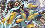 blue_eyes claws commentary_request electricity gen_7_pokemon mythical_pokemon no_humans open_mouth pokemon pokemon_(creature) signature teeth tongue urufin_(wolf_v3ewc) yellow_fur zeraora