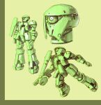 flying gun gundam highres holding holding_gun holding_weapon kyouno_oyatuwa_udon looking_up mecha mobile_suit mobile_suit_gundam no_humans one-eyed open_hand redesign science_fiction weapon zaku zeon