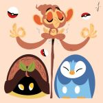 beak chimchar closed_eyes gen_4_pokemon highres leaf lorenzocolangeli meditation piplup poke_ball pokemon pokemon_(creature) shell signature simple_background sitting stick turtwig