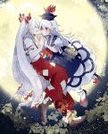 2girls black_footwear blue_dress blue_hair blue_headwear boots bow brown_footwear closed_eyes commentary_request dress fujiwara_no_mokou full_body full_moon hair_bow hands_up hat holding_hands itomugi-kun kamishirasawa_keine long_hair looking_at_another midair moon multicolored_hair multiple_girls open_mouth pants red_bow red_eyes red_pants shirt shoes short_sleeves single_wrist_cuff smile suspenders torn_clothes torn_sleeves touhou two-tone_hair white_bow white_legwear white_shirt wrist_cuffs