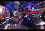 1boy city cornrows dark_skin dark_skinned_male dual_wielding emiya_alter fate/grand_order fate_(series) gun holding letterboxed male_focus midriff namahamu_(hmhm_81) short_hair solo weapon white_hair yellow_eyes