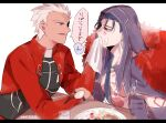 2boys archer_(fate) blue_hair brown_eyes chest_tattoo cu_chulainn_(fate)_(all) cu_chulainn_alter_(fate/grand_order) dark_skin dark_skinned_male earrings facial_mark fate/grand_order fate/stay_night fate_(series) food food_on_face fork fur_collar hood hood_up jacket jewelry male_focus multiple_boys namahamu_(hmhm_81) napkin red_eyes red_jacket tattoo translated white_hair wiping_face