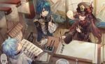 ! ... 1girl 2boys ? ?? ahoge asymmetrical_bangs bangs black_headwear black_nails blue_hair blurry blurry_foreground blush book brooch brown_hair calligraphy_brush chinese_clothes chongyun_(genshin_impact) closed_eyes coat collared_coat collared_shirt csyday earrings eyebrows_visible_through_hair fingerless_gloves flower flower-shaped_pupils folding_screen frilled_shirt_collar frilled_sleeves frills genshin_impact ghost gloves hair_between_eyes hand_on_table hat hat_flower hat_ornament holding holding_brush holding_paper hood hood_down hoodie hu_tao ink inkwell jewelry long_coat long_hair long_sleeves looking_at_another multiple_boys nail_polish notice_lines open_book open_mouth paintbrush paper plate porkpie_hat red_eyes red_flower red_shirt ring scroll shirt short_hair sign single_earring smile sweat symbol-shaped_pupils talisman tassel tassel_earrings thought_bubble thumbs_up tree_branch twintails wooden_floor writing xingqiu_(genshin_impact) yellow_eyes