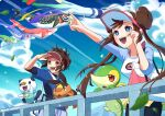 1boy 1girl :d artist_name bag black_legwear blue_eyes blue_jacket blurry blush bow bright_pupils brown_hair clouds commentary_request day double_bun eyelashes fence gen_5_pokemon hand_up highres jacket leaf leaves_in_wind legwear_under_shorts long_hair mato. nate_(pokemon) open_mouth oshawott outdoors pantyhose pink_bow pointing pokemon pokemon_(creature) pokemon_(game) pokemon_bw2 raglan_sleeves red_headwear rosa_(pokemon) short_shorts short_sleeves shorts shoulder_bag sky smile snivy starter_pokemon_trio teeth tepig tongue twintails visor_cap white_pupils yellow_shorts