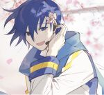 1boy 1c3ink3tk4n blue_eyes blue_hair cherry_blossoms flower hair_behind_ear hair_flower hair_ornament hair_tucking hand_up headset highres kaito male_focus open_mouth pale_skin petals scarf shy smile solo tree_branch tree_shade upper_body vocaloid wind