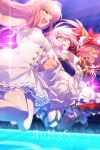 3girls ahoge animal_ear_fluff animal_ears apron artoria_pendragon_(all) bangs bare_shoulders black_shirt blonde_hair blush bow braid breasts cis05 closed_eyes dress fate/extra fate/grand_order fate_(series) fox_ears fox_girl fox_tail french_braid glasses gloves hair_between_eyes hair_bow hair_bun hairband jacket jumping long_hair long_sleeves looking_to_the_side lostroom_outfit_(fate) medb_(fate) medb_(fate)_(all) medium_breasts multiple_girls mysterious_idol_x_(alter)_(fate) off_shoulder one_eye_closed open_mouth paw_gloves paws pink_hair ponytail red_bow red_dress red_legwear shirt sidelocks smile striped striped_dress tail tamamo_(fate)_(all) tamamo_cat_(fate) thigh-highs thighs visor_cap waist_apron white_dress white_jacket yellow_eyes