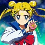 1girl bangs bishoujo_senshi_sailor_moon blonde_hair blue_eyes blue_sailor_collar bow closed_mouth crescent crescent_facial_mark double_bun earrings floating_hair hand_up holding jewelry long_hair long_sleeves looking_at_viewer red_bow sailor_collar shirt solo tsukino_usagi twintails upper_body white_shirt yoko.u