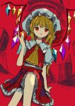 1girl apple arm_support ascot blonde_hair blood blood_from_mouth bow closed_mouth crossed_legs crystal empty_eyes flandre_scarlet food frilled_shirt_collar frilled_skirt frilled_sleeves frills fruit hat hat_bow highres holding holding_food holding_fruit mob_cap neruzou puffy_short_sleeves puffy_sleeves red_background red_bow red_eyes red_skirt red_vest shirt short_hair short_sleeves side_ponytail sitting skirt skirt_set touhou vest white_shirt wings yellow_neckwear