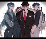 4boys blue_hair bodypaint bowler_hat cu_chulainn_(caster)_(fate) cu_chulainn_(fate)_(all) cu_chulainn_(fate/stay_night) cu_chulainn_alter_(fate/grand_order) dark_blue_hair earrings facepaint fate/grand_order fate_(series) formal hands_in_pockets hat highres jewelry long_hair mini_cu-chan_(fate) multiple_boys multiple_persona namahamu_(hmhm_81) necktie one_eye_closed ponytail red_eyes suit tail vest waistcoat