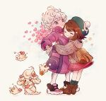 1boy 1girl :t ahoge alcremie alcremie_(love_sweet) backpack bag bangs bede_(pokemon) blush boots brown_bag brown_footwear brown_hair cable_knit cardigan closed_mouth coat commentary_request curly_hair eyelashes gen_8_pokemon gloria_(pokemon) green_headwear green_legwear grey_cardigan hat heart hooded_cardigan hug leggings long_sleeves milcery pokemon pokemon_(creature) pokemon_(game) pokemon_swsh purple_coat shoes short_hair smile socks standing tam_o'_shanter zzzpani