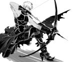 1boy archer_alter bare_shoulders bow_(weapon) corruption dark_skin dark_skinned_male drawing_bow hair_down holding holding_bow_(weapon) holding_weapon male_focus monochrome muscular muscular_male namahamu_(hmhm_81) solo weapon
