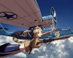 1girl 4boys absurdres aircraft airplane animal_ears black_hair black_neckwear black_ribbon blonde_hair blue_eyes blue_sky breasts browning_m1919 cat_ears cat_tail clouds consolidated_pby_catalina death_by_lolis fang freckles garrison_cap gun hat headset highres holster huge_filesize katharine_ohare landing_gear large_breasts machine_gun multiple_boys necktie revolver ribbon short_hair skin_fang sky smile strike_witches tail tire v waving weapon wheel world_witches_series