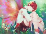 bandaid bandaid_on_nose blurry blurry_background boots fairy_wings flower forest frills fukase grass head_on_knees headphones leg_hug male_focus mini_flag misu_(stepforme) nature red_eyes redhead ribbon shirt shorts sitting sleeves_past_elbows solo vocaloid white_shirt wings