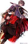 1boy 1girl armor brown_hair buster_shirt cape crossover curtained_hair family_crest fate/grand_order fate_(series) gloves greaves hat heshikiri_hasebe japanese_armor katana male_focus military_hat namahamu_(hmhm_81) oda_nobunaga_(fate) oda_nobunaga_(fate)_(all) oda_uri peaked_cap red_cape shoulder_armor sode sword touken_ranbu weapon white_gloves