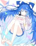 1girl bangle bare_legs barefoot blue_bow blue_eyes blue_hair blue_skirt bow bracelet feet grey_hoodie hair_bow highres holding holding_sign hood hoodie jewelry long_hair looking_at_viewer nyanaya sign simple_background skirt smile solo thighs touhou translation_request triangle very_long_hair yorigami_shion