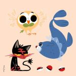 abstract fins flying gen_7_pokemon highres leaf litten looking_at_another looking_away lorenzocolangeli poke_ball pokemon pokemon_(creature) popplio rowlet signature simple_background sitting swimming tail wings