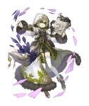 1boy belt belt_pouch blindfold book boots full_body fur_trim green_hair grin holding holding_book hood hood_up hooded_coat ji_no long_coat long_nose looking_at_viewer official_art pinocchio_(sinoalice) pouch shorts sinoalice smile solo thigh-highs transparent_background upper_teeth