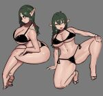 1girl ^_^ absurdres ass bikini black_bikini black_eyes breasts closed_eyes curvy elf feet from_side green_hair grey_background highres huge_breasts mano_(deew123) multiple_views navel open_mouth original pointy_ears ponytail shading simple_background sketch smile swimsuit thick_thighs thighs toes