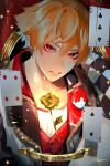 1boy ace_trappola arm_behind_head card character_name checkered eyeshadow flower framed hair_between_eyes highres lapel makeup male_focus orange_hair parted_lips playing_card portrait red_eyes rose shoco_(sco_labo) solo sparkle twisted_wonderland vest waistcoat