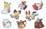 backpack bag beanie brown_bag closed_eyes commentary dedenne emolga gen_1_pokemon gen_2_pokemon gen_3_pokemon gen_4_pokemon gen_5_pokemon gen_6_pokemon gen_7_pokemon gen_8_pokemon gloves hat hatted_pokemon minun morpeko morpeko_(full) no_humans pachirisu pichu pikachu plusle pokemon pokemon_(creature) rakkonokawa rotom rotom_dex shoes simple_background single_shoe skateboard sunglasses sweatdrop togedemaru visor_cap white_background white_footwear white_headwear