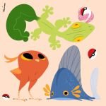 abstract fins gen_3_pokemon highres looking_at_another lorenzocolangeli mudkip poke_ball pokemon pokemon_(creature) signature simple_background standing tail tongue tongue_out torchic treecko wings