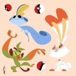 abstract closed_eyes closed_mouth fins gen_8_pokemon grookey highres leaf looking_at_another lorenzocolangeli open_mouth poke_ball pokemon pokemon_(creature) scorbunny signature simple_background sobble standing swimming tail teeth